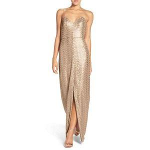 Amsale Samantha Spaghetti Strap Sequin dress BHLDN